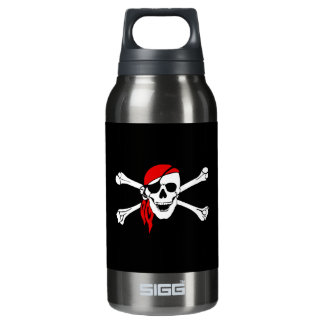 Pirate Skull and Crossbones with Red Bandana Thermos Bottle