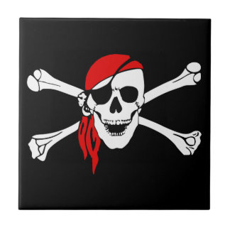 Pirate Skull and Crossbones with Red Bandana Tiles
