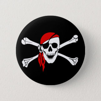 Pirate Skull and Crossed Bones Button