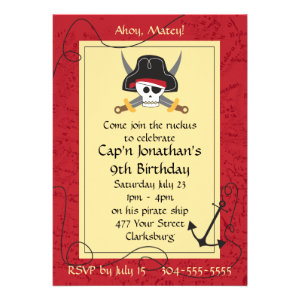 Pirate Skull and Crossed Swords Birthday Custom Invite