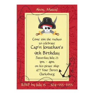 "Pirate Skull and Crossed Swords Birthday 5"" X 7"" Invitation Card"