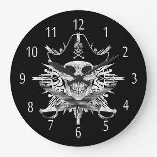 Pirate Skull And Cutlass Round (Large) Wall Clock
