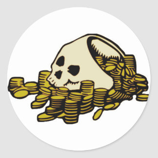 Pirate Skull and Dubloons Classic Round Sticker