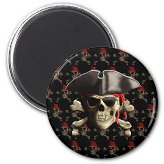 Pirate Skull And Hat 2 Inch Round Magnet