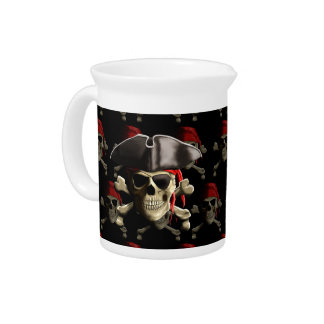 Pirate Skull And Hat Beverage Pitchers