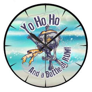 Pirate Skull and Rum Large Clock