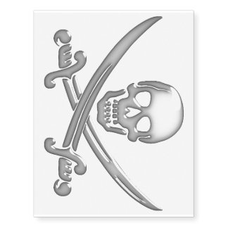 Pirate Skull and Sword Crossbones (TLAPD) Temporary Tattoos