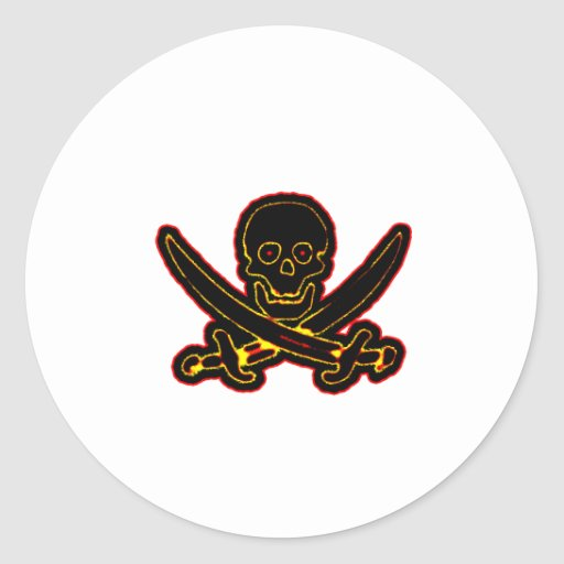 Pirate Skull and Swords black red The MUSEUM Zazzl Classic Round Sticker