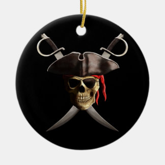 Pirate Skull And Swords Ceramic Ornament