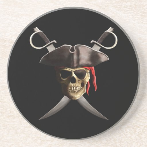 Pirate Skull And Swords Drink Coasters