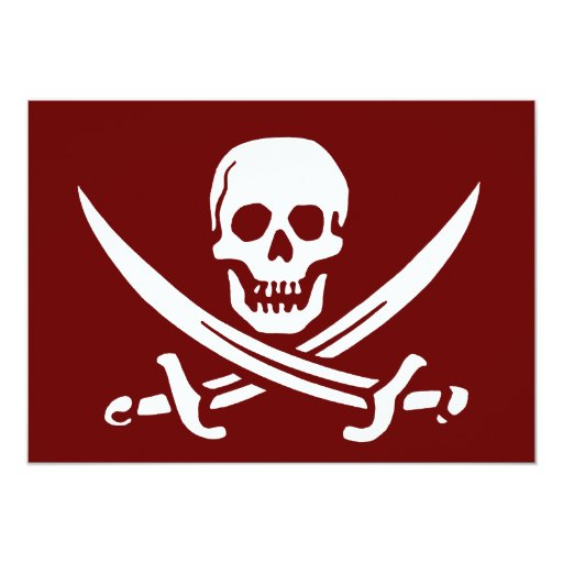 Pirate Skull and Swords,Jolly Roger 5x7 Paper Invitation Card