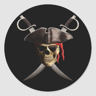 Pirate Skull And Swords Round Sticker