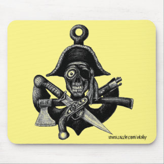Pirate skull and weapons ink pen drawing art mouse pad