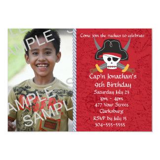 Pirate Skull Birthday Photo Template Card
