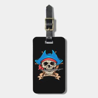 Pirate Skull Biting Knife Bag Tag