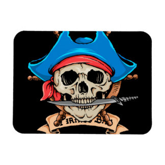 Pirate Skull Biting Knife Magnet