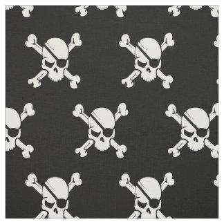 Pirate Skull Black and White Fabric