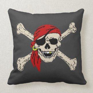 Pirate Skull Bones Jolly Roger Pillow