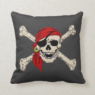 Pirate Skull Bones Jolly Roger Throw Pillow