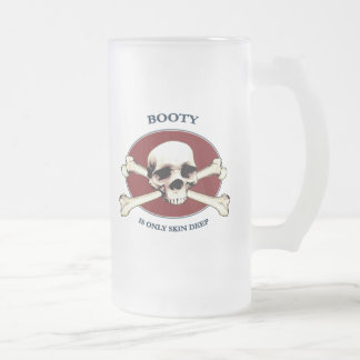 Pirate Skull Booty Skin Frosted Glass Beer Mug