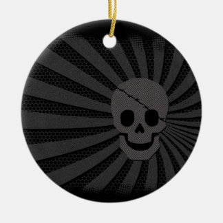 pirate skull ceramic ornament
