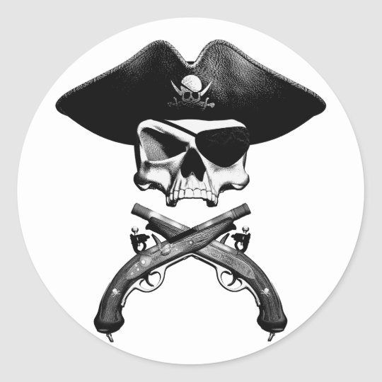 Pirate Skull Classic Round Sticker