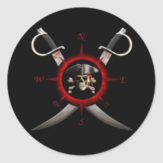 Pirate Skull Compass Rose Classic Round Sticker