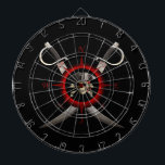 "Pirate Skull Compass Rose Dartboard<br><div class=""desc"">Pirate skull,  eye patch,  pirate hat,  and crossed bones for a classic Jolly Roger in the center of a vintage style Compass Rose with two crossed pirate swords behind it.</div>"