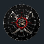 """Pirate Skull Compass Rose Dartboard<br><div class=""""desc"""">Pirate skull,  eye patch,  pirate hat,  and crossed bones for a classic Jolly Roger in the center of a vintage style Compass Rose with two crossed pirate swords behind it.</div>"""