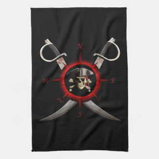 Pirate Skull Compass Rose Hand Towels