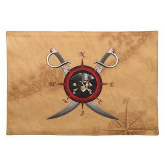 Pirate Skull Compass Rose Placemat