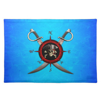 Pirate Skull Compass Rose Place Mat