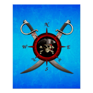 Pirate Skull Compass Rose Posters
