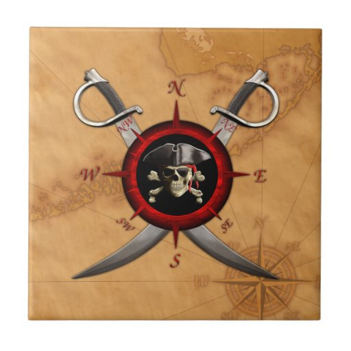 Pirate Skull Compass Rose Small Square Tile