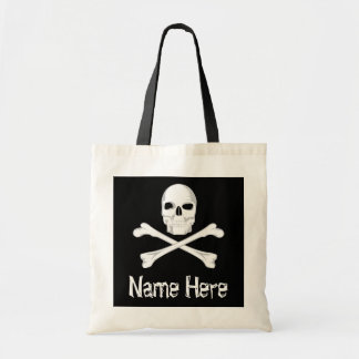 Pirate Skull Crossbone Custom Name Halloween Treat Tote Bag