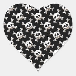 Pirate Skull & Crossbones Heart Sticker