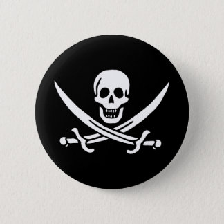 Pirate Skull Crossed Swords Jolly Roger Flag Pinback Button