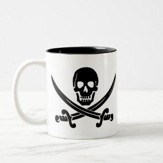 Pirate Skull & Crossed Swords Two-Tone Coffee Mug