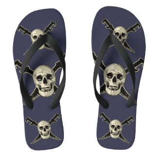 Pirate (Skull) - Custom Adult, Wide Straps Flip Flops