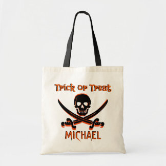 Pirate Skull Custom Name Trick or Treat Bag
