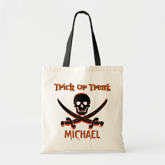 Pirate Skull Custom Name Trick or Treat Bag