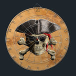 "Pirate Skull Dartboard<br><div class=""desc"">Classic Pirate Skull and Crossbones,  The Jolly Rodger,  with pirate hat and eye patch. Background is a vintage style nautical map of the Florida Keys,  which history tells us was a haven and base of operations for pirates.</div>"