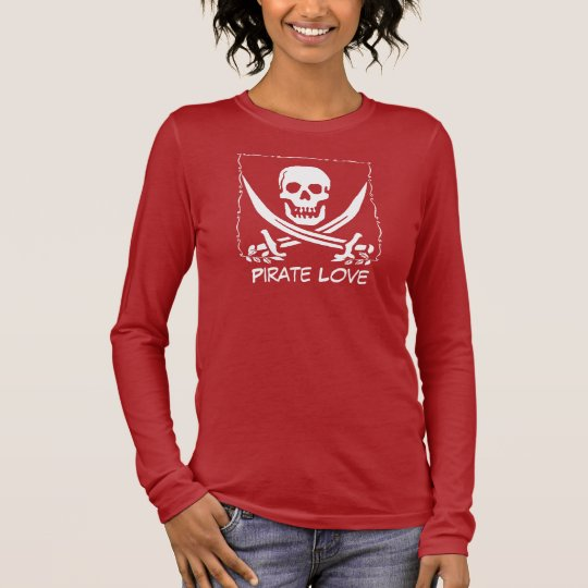 Pirate Skull edit text Long Sleeve T-Shirt
