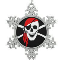 Pirate Skull Flag Snowflake Pewter Christmas Ornament