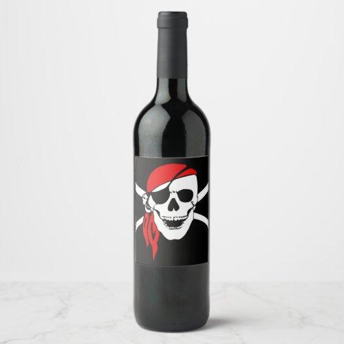 Pirate Skull Flag Wine Label