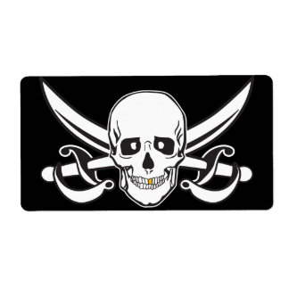 Pirate Skull Gold Tooth Personalized Shipping Labels