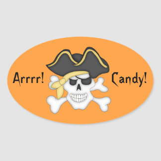 Pirate Skull Halloween Goody Bag Oval Sticker