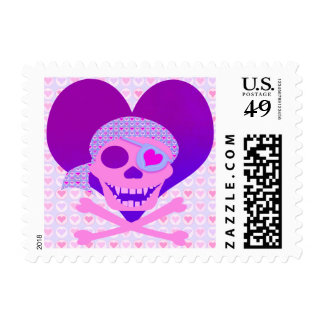 Pirate Skull Heart Stamps