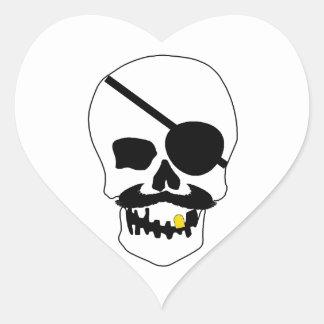 Pirate Skull Heart Sticker