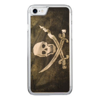 Pirate Skull in Cross Swords Carved iPhone 7 Case